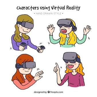 Pak van handgetekende meisjes spelen met virtual reality bril