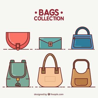 Pak van handtassen van elegante vrouw