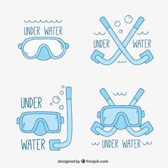 Pak van het duiken badges