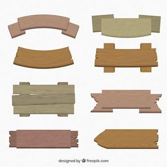 Pak van houten borden in plat design