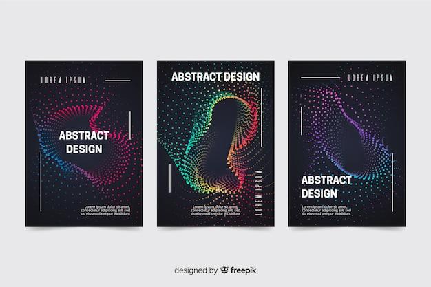 Pak van kleurrijke abstracte golven muziek posters sjabloon