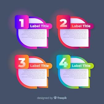 Pak van kleurrijke infographic stappen