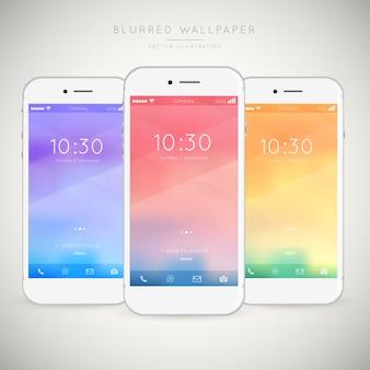 Pak van mobiele telefoons met abstracte gekleurde wallpapers