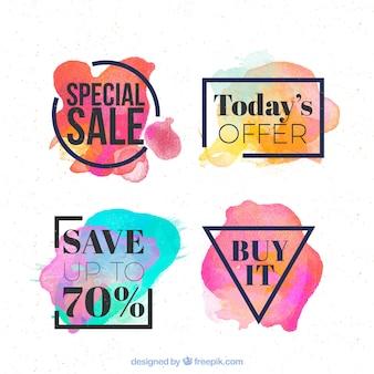 Pak van moderne aquarel stickers voor verkoop