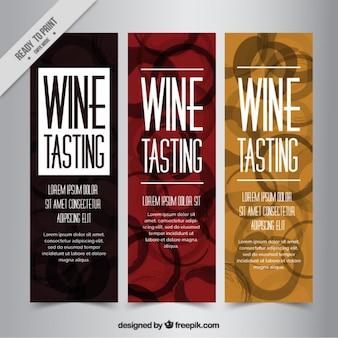 Pak van mooie banners met wijnvlekken