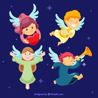 Pak van mooie engelen met muziekinstrumenten en hart