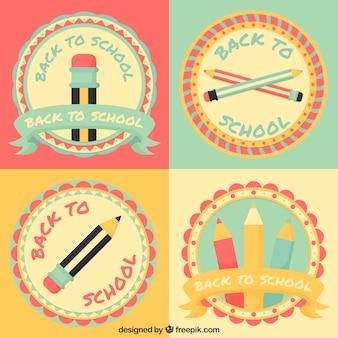 Pak van mooie scholen badges in vintage stijl