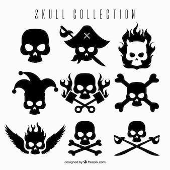 Pak van ontwerpen met zwarte skulls
