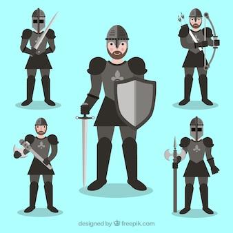Pak van pantser ridder in verschillende houdingen