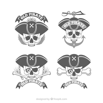 Pak van piraatschedel badges