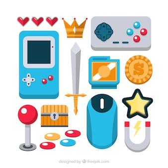 Pak van platte video game-elementen en controllers