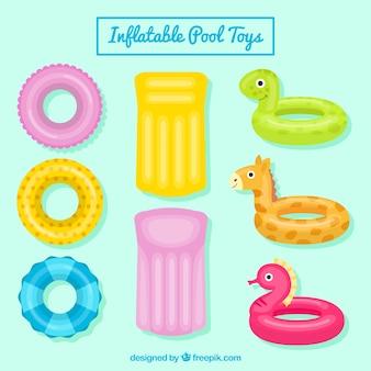 Pak van plezierige praalwagens en opblaasbaar zwembad speelgoed
