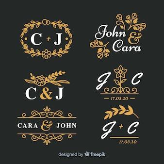 Pak van prachtige decoratieve bruiloft monogram