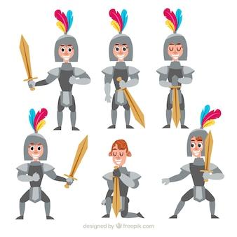 Pak van ridderkarakter in verschillende posities