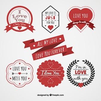 Pak van romantische stickers in plat design