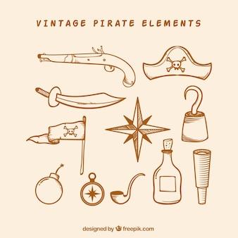 Pak van tekeningen van piratenelementen