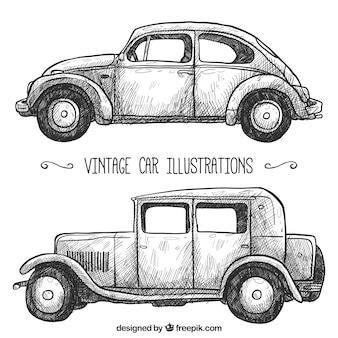 Pak van twee retro auto