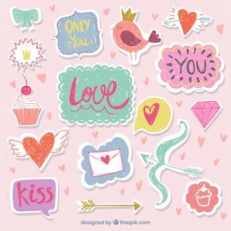 Pak van valentijn stickers in vintage stijl