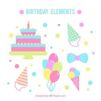 Pak van verjaardag decoratie in pastelkleuren