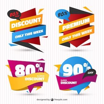 Pak van verkoop stickers in plat design