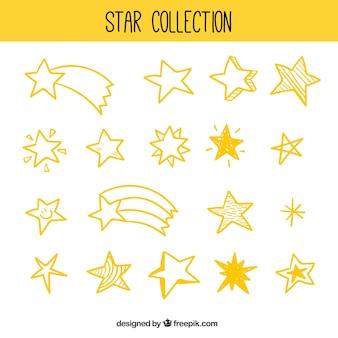Pak van verschillende soorten sterren en vallende sterren