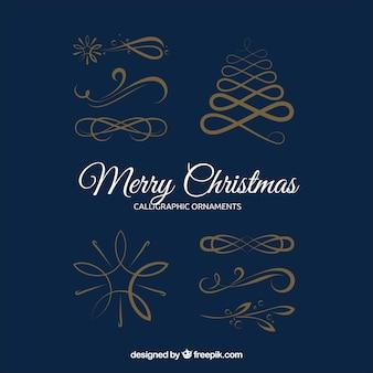 Pak van vier gouden kerst ornamenten