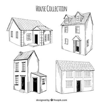 Pak van vier handgetekende huizen