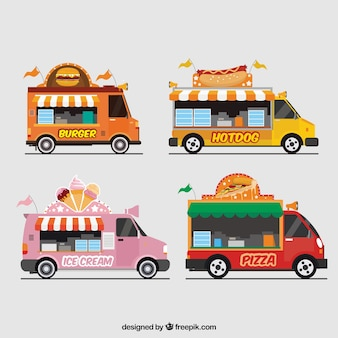 Pak van voedselwagens met luifels