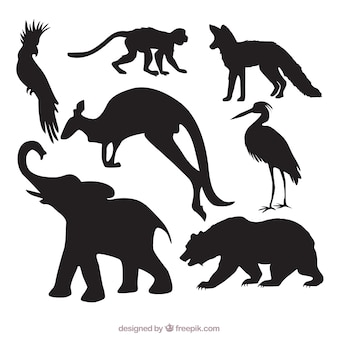 Pak van wilde dieren silhouetten