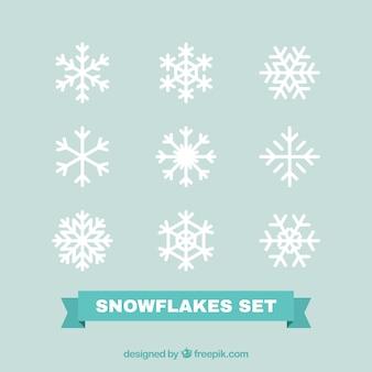 Pak van witte decoratieve sneeuwvlokken in plat design