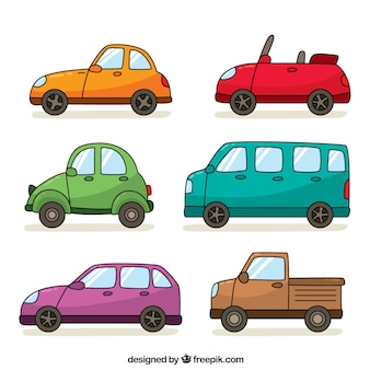 Pak van zes hand getekende voertuigen