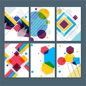 Pak van zes kleurrijke kaarten met geometrische vormen