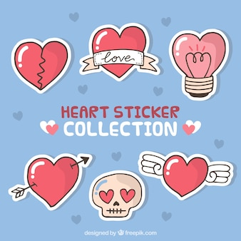 Pak van zes met de hand getekende hart stickers