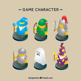 Pak van zes role-playing game personages