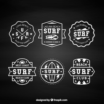 Pak van zes vintage surf badges