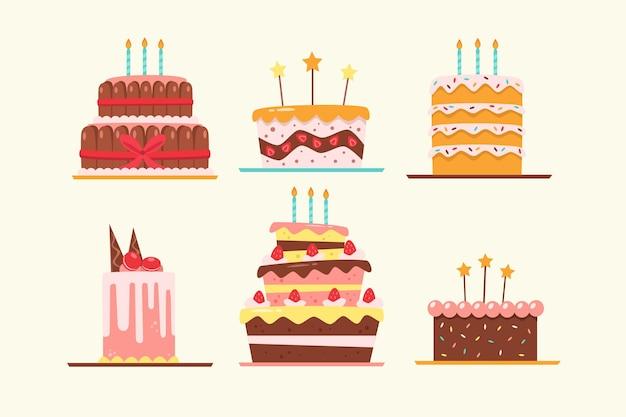 Pak verjaardagstaarten in plat ontwerp