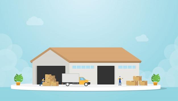 Pakhuis met vrachtwagen en goederenstapel en pakhuizenwerknemer met moderne vlakke stijl - vector