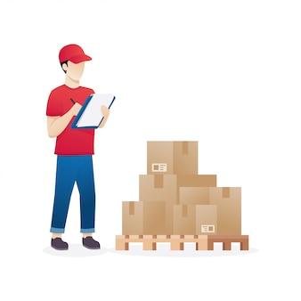 Pakhuisarbeider die goederen op palletvoorraad controleren