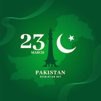 Pakistan dag illustratie met badshahi moskee Gratis Vector