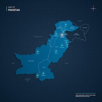 Pakistan kaart met blauwe neonlichtpunten
