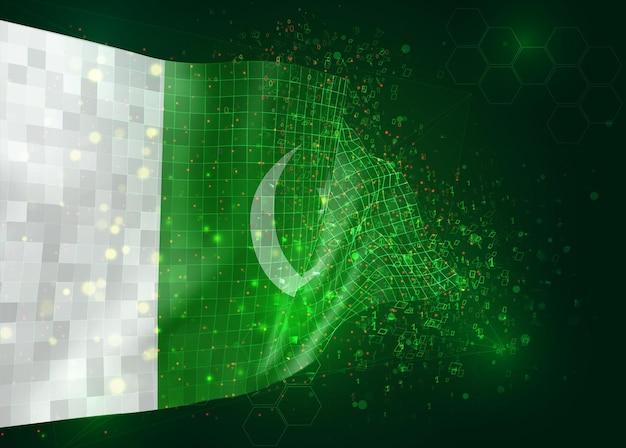 Pakistan, op vector 3d-vlag op groene achtergrond met veelhoeken en gegevensnummers
