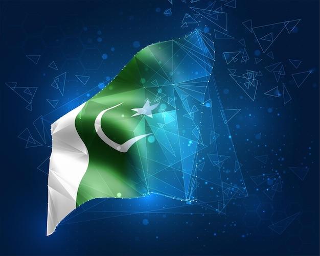 Pakistan, vlag, virtueel abstract 3d-object van driehoekige veelhoeken op een blauwe achtergrond