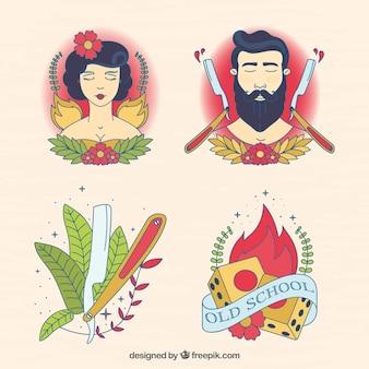 Pakje artistieke geïllustreerde tatoeages