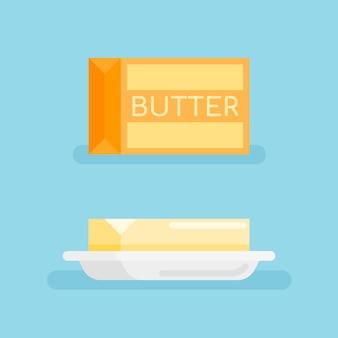 Pakje boter en boter op schotel in vlakke stijl.