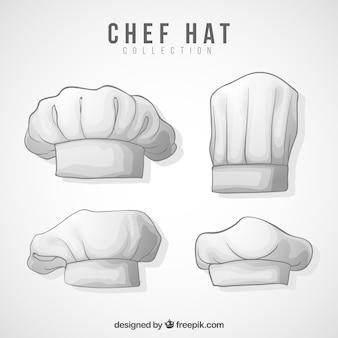 Pakje chef-kok hoeden met verschillende ontwerpen