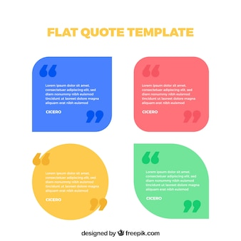 Pakje citaat sjablonen in plat ontwerp
