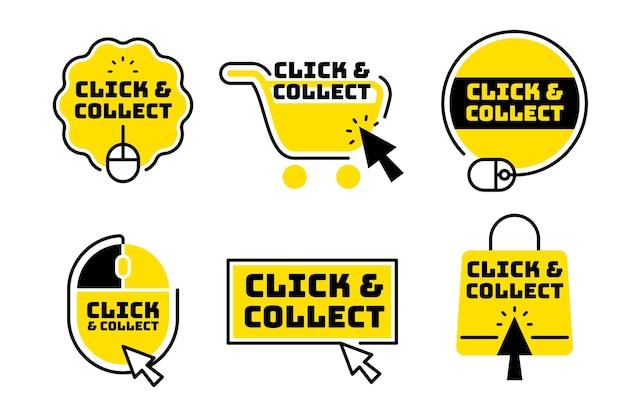 Pakje creatieve klik- en verzamelknoppen Premium Vector