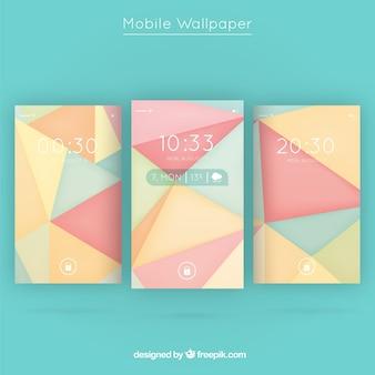 Pakje driehoeken mobiele wallpapers in pasteltinten