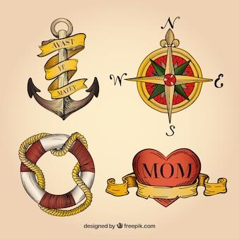 Pakje geïllustreerde tattoo elementen