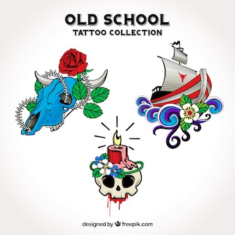 Pakje hand getekende decoratieve tatoeages